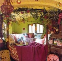 As boho chic as the interior of a gypsy vardo