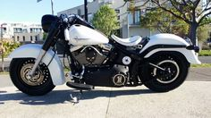 black and white Harley softail Pic 1