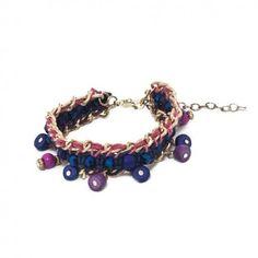 Bracelet mode Ethnique bleu, violet et doré de perles de verre et rocaille
