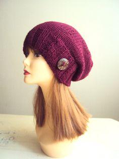 Women Slouchy Beanie Button Hat Knit Burgundy Hat by GrahamsBazaar