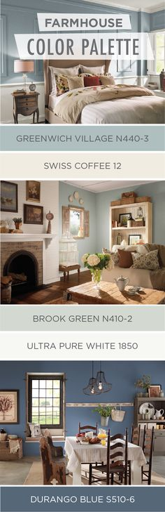 Farmhouse style is all the rage right now and for good reason! Check out this collection of farmhouse chic color palettes from BEHR Paint to find the perfect rustic color scheme for your home. Light shades like Brook Green and Ultra Pure White look great Farm House Living Room, Farmhouse Decor, Farmhouse Paint, Farm House Colors, Home Decor, Room Colors, Rustic Living Room, Rustic Color Schemes, House Colors