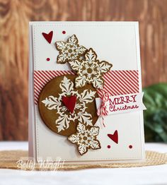 Card using Verve's Snowflake Tidings die and Glad Tidings stamp set, Verve's Flag It and From the Heart die sets for sentiment banner and embellishments!