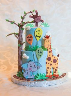 Jungle Babies Cake - I made this cake to welcome my beautiful little nephew to the world.  I had so much fun making this.  Buttercream iced with gumpaste 2D figures.