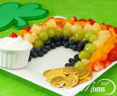 Pot-O-Gold Party Fruit - This delicious and nutritious recipe makes a great addition to every St. Patty's Day party or anytime you are looking to add a burst of color to one of your celebrations. Tags: easy St. Patrick's recipe | rainbow treats for St. Patrick's Day | kid friendly St. Patrick's Day treat | St. Patrick's Day ideas for kids | SuperMoms360.com