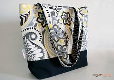 White and Black Paisley Tote Bag by sugarrushcreative on Etsy, $22.00