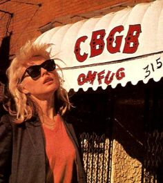 """Debbie Harry outside CBGBs. A Pinner wrote: """"I was likely there at the same time and saw her first shows. She was a person of the most pleasant demeanor and enjoyed late night appearances. Blondie Debbie Harry, Rock & Pop, Rock N Roll, Photo Rock, Ska Punk, We Will Rock You, Die Young, Post Punk, Blondies"""