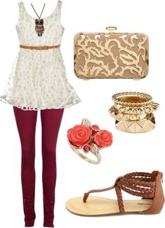 """""""Neutral Natural"""" by nitro-chloe on Polyvore...if only I was small enough to actually walk around in those tights comfortably"""