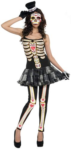 Sexy women's costume designed with a motif celebrating Mexico's Day of the Dead celebrations! Also a wonderful Halloween costume for women. Day Of The . Adult Costumes, Costumes For Women, Halloween Kostüm, Halloween Costumes, Mexican Halloween, Halloween Queen, Party Costumes, Gothic Halloween, Holiday Costumes