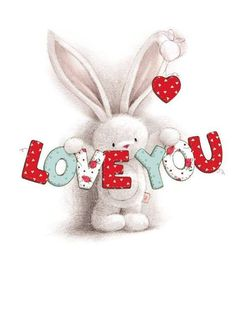Bunny holding love you sign