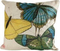 Blue, Green & Yellow Butterflies Euro Pillow