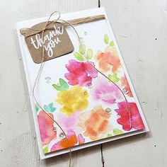 BIRTHDAY GIVEAWAY ALERT  Happy Birthday to you, Angie and Greg @concordand9th And a big Thank you too!!! I'm so excited to be helping you celebrate your first birthday. That's the reason I made a Thank you card for you. I used the 'Brushed Blossom' Stamp Set and combined it with the 'Bags & Tags' Die. The flowers are wet stamped with Distress Inks. I embellished the card with some sequins and lots of Clear Wink of Stella.  And YOU have the chance to win a 20 $ gift certificate from @conc...