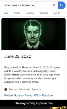 Born on June 2020 years old) to a wealthy Nevada magnate, Robert Edwm House was orphaned at an early age when hws parents died m a freak accident involving an autogyro and a lightning strike, Robert House , Fallout WIKI , Fando Fallout Meme, Fallout Art, Fallout New Vegas, Bingo Bango Bongo, Fallout Wallpaper, Bethesda Games, Game Info, Never Change, Deus Vult