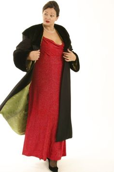 Plus Size Long Coat Wool Faux Sealskin Collar, Cuffs Black Size 14/16 | Peggy Lutz Plus Size Designer Clothing  www.plus-size.com  #motherofthebrideplussize #plussizestyle #plussizecouture #plusstyle #plussizeformalcoat  #plussizefashion #customplussize
