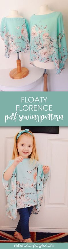 Mommy and me matching top PDF sewing pattern! Sizes newborn to 12 years, and ladies XXS to 5XL.