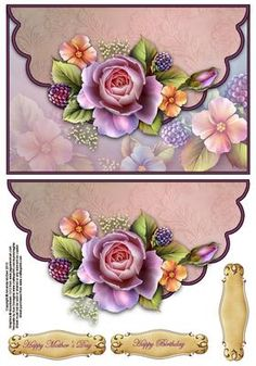 Roses and berries envelope card on Craftsuprint designed by Amanda McGee - Stunning envelope card featuring roses and berries design - Now available for download!