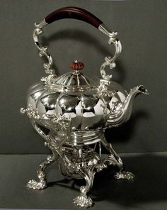 English Silver Teapot on Stand               VICTORIAN STYLE TEA KETTLE