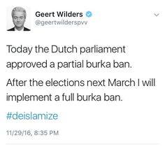 Fascist Wilders: Burkaverbod is anti-islam  Niks veiligheid. En dat weten jullie ook 50 Partij voor de Dieren SGP ChristenUnie VVD CDA. Geerts fascistische fellow travelers.