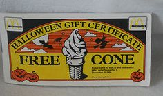 1988 McDonald's Halloween Gift Certificate FREE CONE Coupons | eBay