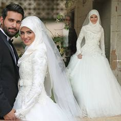Discount Muslim Wedding Dresses Vintage Long Sleeve Lace Wedding Dresses High Neck Sweep Train A Line Muslim Wedding Dresses Applique Sequins Beads Bow 2015 Bridal Gown