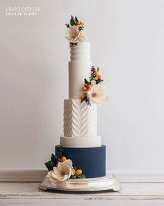 Wedding Cakes — De la Crème Creative Studio – Famous Last Words Creative Wedding Cakes, Floral Wedding Cakes, Elegant Wedding Cakes, Elegant Cakes, Beautiful Wedding Cakes, Gorgeous Cakes, Wedding Cake Designs, Pretty Cakes, Rustic Wedding