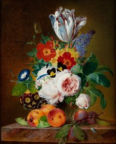 Theodor Mattenheimer, 1787 Bamberg - 1856 Munich FLOWER STILL LIFE WITH PEACHES AND PLUMS