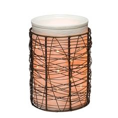 Silhouette warmer with Loom wrap.  My husband has this in his den and my stylist has 2 of them in his salon.  Perfect for a modern look.