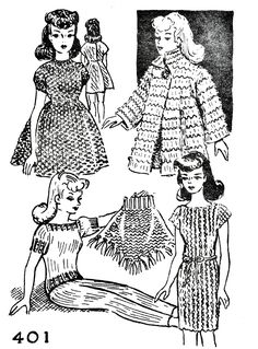 Crochet Dolls Clothes Free Fashion Doll Knitting Pattern Wardrobe - Knit Free and Easy Vintage Fashion Doll Pattern Wardrobe that features a Pant Set, Dress, Mini Dress, Poncho, and a Coat. Barbie Knitting Patterns, Knitted Doll Patterns, Doll Patterns Free, Knitting Dolls Clothes, Barbie Clothes Patterns, Crochet Barbie Clothes, Crochet Doll Pattern, Knitted Dolls, Crochet Dolls