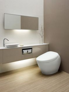 Smart Toilet, Modern Toilet, Ideal Bathrooms, Small Bathroom, Bathroom Inspiration, Interior Inspiration, Self Cleaning Toilet, Wc Design, Glass Shower