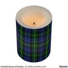 Scottish House of Gordon Blue Green Tartan Plaid Flameless Candle
