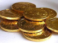 "Chocolate ""gold"" coins as a party favor"