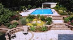 Cambridge Pavers lower patio steps and pool patio with landscape, Wappingers Falls NY