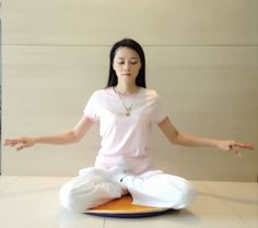 "Falun Dafa Practioner doing the 5th exercise, the meditation called ""Strengthening Divine Powers""."