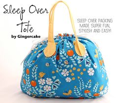 Sew an Easy Drawstring Sleep Over Tote - PDF Sewing Pattern from Gingercake