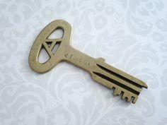 Fantastic Folger Adams Prison Jail Key ~ GIANT BRASS KEY ~ Gag Valentine Gift #keys, #vintage, #swirlingO11, #collectibles, #locksnkeys, #brasskeys