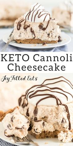 Cannoli Cheesecake - Low Carb Keto Grain-Free Gluten-Free Sugar-Free THM S - Cannoli cheesecake is s. Mini Desserts, Keto Desserts, Brownie Desserts, Keto Friendly Desserts, Oreo Dessert, Sugar Free Desserts, Easy Desserts, Dessert Recipes, Dinner Recipes