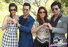 Kriti Sanon, Varun Dhawan, Kajol and Shah Rukh Khan Picture Gallery image # 326248 at Dilwale Promotional Event containing well categorized pictures,photos,pics and images. Bollywood Couples, Bollywood Memes, Bollywood Stars, Indian Celebrities, Bollywood Celebrities, Dilwale 2015, Shahrukh Khan And Kajol, Alia And Varun, Most Beautiful Bollywood Actress
