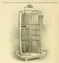 Stand-alone shower in 1907 Mott's plumbing catalog.