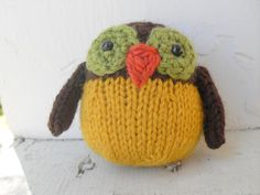 Hand Knit Owl Plush Ready To Ship Brown by merlinlovestocreate, $10.00