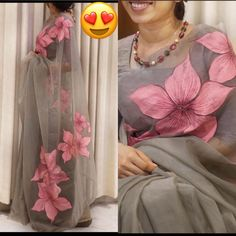 Looking someone for this same colour beautiful Saree on premium Organza fabric with Digital print and Banglory blouse. pink organza saree organza saree blouse designs latest #organzasilksaree #organzasaree #sareelove #organza #saree #organzasarees Floral Print Sarees, Printed Sarees, Printed Blouse, Organza Saree, Silk Sarees, Grey Saree, Designer Blouse Patterns, Blouse Designs, Indian Blouse