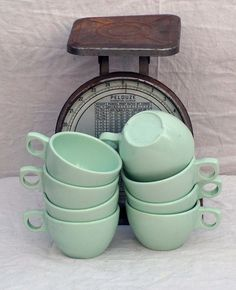 Prolon Florence Coffee Cups Aqua Pale Jadite Green Melmac Melamine Set Of 6 Six 1950s Mid Century Kitchen Dining Ware. $25,89, via Etsy.