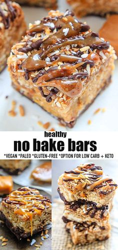 These No Bake Bars are easy to make with only 6 ingredients and make the perfect healthy no bake snack, treat and dessert. They have all the classic caramel, coconut, and chocolate flavours of the popular Girl Scout cookies but are made with better for your ingredients that are gluten free, dairy-free, refined sugar-free, paleo and vegan-friendly with a low carb keto sweetener option. #nobake #samoabars #girlscoutcookies #nobakebars #paleo #glutenfree #paleo #vegan