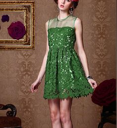 Dress code:F0012  It brings mysterious melting sense for you.  Fabric:Organza + lace Color: Green Neckline:Round Waist:high Sleeve Length:Sleeveless  Size: S,M,L,XL S: bust-84cm, waist-72cm, hip-120cm, length-85cm M: bust-88cm, waist-76cm, hip-124cm, length-86cm L: bust-92cm, waist-8...