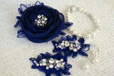 Mosquita custom order - lace shoe clips and flower brooch encrusted with Swarovski crystals and pearls