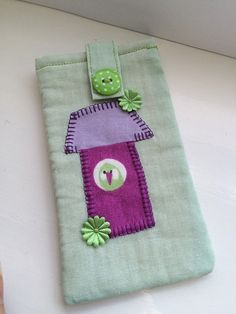 Handmade Fabric Phone/Glasses Case - Pale Green with bird house applique.    This padded cotton case will fit phones or glasses up to 14cm tall by