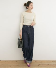 ワイドデニム Classic Style, Normcore, Suits, Yahoo, Street, Fashion, Grown Women, Japanese Fashion, Fashion Outfits