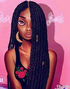 Cartoon Box Braids : cartoon, braids, TRISH, SATIN, BONNET, TUBAN, African, Print, Black, Women, Natural