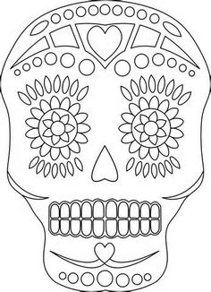 Sugar Skull Coloring Pages to Print Free | Sugar Skull Coloring Pages Printable Book Pictures