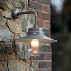 Inspired by the deck lighting on the iconic HMS Belfast, these robust outdoor lights are perfect for patios, over doors, sideways and alleyways. Extra light is great for those outside areas where security might be an issue. Shade diameter: fixing Exterior Wall Light, Exterior Lighting, Outdoor Wall Lamps, Outdoor Walls, Outdoor Lantern, Porch Lighting, Outdoor Lighting, Funky Lighting, Driveway Lighting