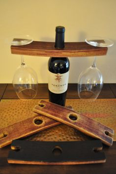 Recycled Wine Barrel Wine Glass Holder by Chilipepperwoodworks, $16.95