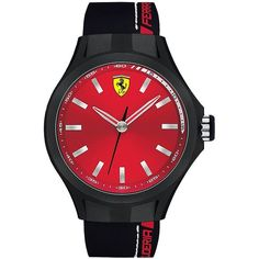 Ferrari Mens Scuderia Pit Crew  and Red Silicone Strap Watch ($135) ❤ liked on Polyvore featuring men's fashion, men's jewelry, men's watches, black, mens leather strap watches, mens watches, men's blue dial watches and mens watches jewelry